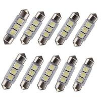 10 X White 36MM 3 LED 5050 SMD Festoon Dome Car Light Interior Lamp Bulb 12V TP