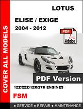 LOTUS ELISE EXIGE S2 2004 - 2012 FACTORY SERVICE REPAIR OEM WORKSHOP FSM MANUAL