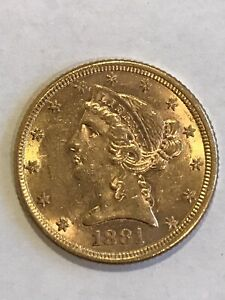 1881-P Liberty $5 Dollar Half Eagle Gold Coin
