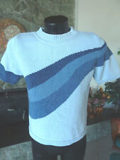 Blue Willi's Pull-over Sweater  White w/ Design Blues  Denmark  Beautiful Knit S