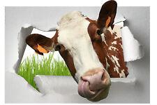 Sticker trompe l'oeil animal Vache 100x66cm