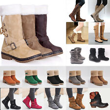 Women Winter Mid Calf Fur Boots Warm Snow Boots Grip Sole Ankle Flat Shoes Sizes