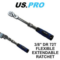 "US PRO 3/8"" Flexi Flexible Extendable Socket Ratchet 72t 5162"