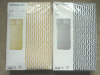 Ikea Vippvallmo Mustard Yellow Black Single Double Bed Duvet Cover P/case Set