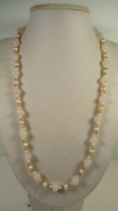 Lee Sands Wacky Friday Rose Quartz w Peridot & Pink Pearls Necklace