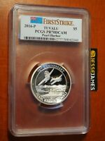 2016 P $5 TUVALU SILVER PROOF PEARL HARBOR PCGS PR70 DCAM FIRST STRIKE 5 OUNCE