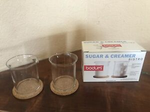 Bodum Bistro Sugar Creamer Set Danish Glass Cork Coasters Jorgensen 4012 Coffee