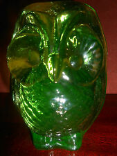 Green Vaseline glass OWL Bird screech paperweight figurine / uranium radioactive