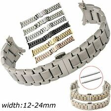 12-24mm Stainless Steel Band Butterfly Buckle Watch Bracelet Curved Connectors
