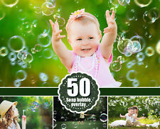 50 Bubbles Photoshop Overlays Realistic Soap air bubble Photo effect, png