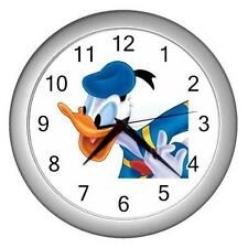 "Navy Donald Duck Silver White Frame 10"" Round Wall Clock New"