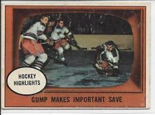 """1961-62 Topps """"Hockey Highlights"""" Gump Makes Save #65 Action - no crease"""