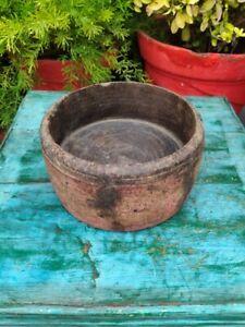 Antique Primitive Wooden Hand Carved Nepal Tibetan Buddhist Saints Eating Bowl