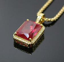 Hip Hop Ruby Red Square Iced Out Gold Necklace Chain