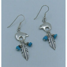 QVC .925 Sterling Silver Natural Blue Turquoise Bear Feather Dangle Earrings