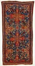 "Original 19th C. Antique Oriental Carpet Caucasian Rug Kazak 85"" x 44"""
