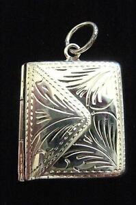 STERLING SILVER Art Nouveau envelope stamp case Photo holder Locket Chatelaine