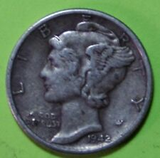 1942-P or 1943-P or 1944-P US Mercury silver Dimes Fine or Better Coin Ck Inv.