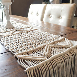 Moroccan Woven Table Runner with Tassels Macrame Table Runner Party Decor