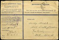 AMERICAN EXPEDITIONARY FORCES SOLDIER'S LETTER TORN & TATTERED