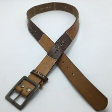 "Roxy Leather Mult Color Brown Tan BELT Womens M/L Bronze Buckle 1.5"" Wide"