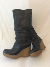 Ladies  Black Knee High Leather Boots Size 37