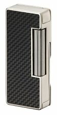 SAROME FLINT SOFT FLAME PIPE LIGHTER PSD37-05 CARBON FIBER / SILVER ** NEW **
