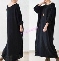 Womens Caftan Pocket Loose Maxi Linen Cotton Long Sleeve Casual Dress Plus size