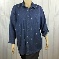 Quacker Factory Denim Button Front Top Size 1X Blue Embellished Roll Tab Sleeves