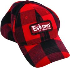 NEW ESKIMO Ice Fishing Cap Red/Black Buffalo Plaid 23051