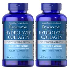 2 X Puritans Pride Hydrolyzed Collagen 1000 mg Skin Bones Joints 180 Caplets