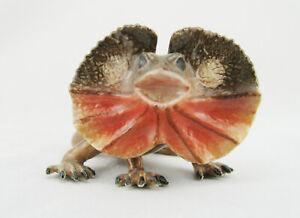 Australian Frilled Neck Lizard Miniature Porcelain and Hand Painted 73 mm Length