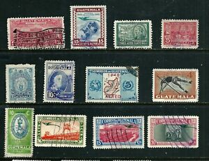 Guatemala  Air Post Stamps 1941-1949 - 12 used stamps