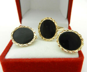 Vintage Retro Style Solid 10k Yellow GOLD Black ONYX Omegaback EARRINGS RING SET
