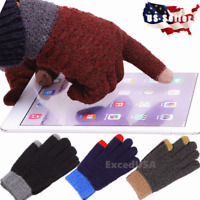 Touch Screen Winter Gloves Women Men Warm Knit Thermal Insulated Gifts Christmas