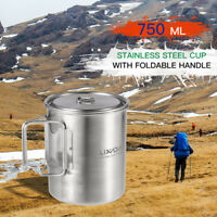 Lixada Camping Stainless Steel Pot Portable Water Mug Cup + Pot with Lid V7V9