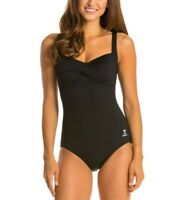 TYR Solid Twisted Bra Control Fit One Piece Soft Cups Swimsuit Black Size 8