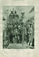Antique B&W Illustrated Print Lord Kitchener At Dover By Samuel Begg 1898
