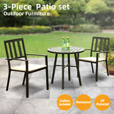 Outdoor Furniture Set 3 Pcs Patio Bistro Metal Table Set Two Chairs Garden Decor