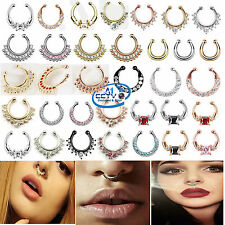 Fake Crystal Non-Piercing Nose Ring Body Jewellery Women Clip-On Spring Action