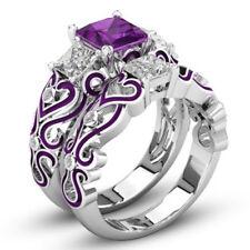 2pcs/set White gold Filled Coupl Rings Jewelry crystal Fashion Wedding women