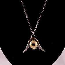 Harry Potter goldener Schnatz Anhänger mit silberne Flügel und Halskette