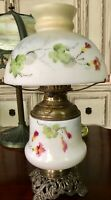 19th Century Oil Parlor Lamp Electrified w/ Hand Painted Lamp Shade Three Way