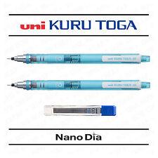 2 x UNI KURU TOGA SELF SHARPENING MECHANICAL PENCIL - BLUE BARREL + LEADS