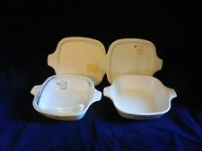 2 Corning Ware Blue Cornflower 1 3/4c Petite Pans w/1 Glass, 2 Storage lids P41