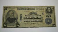 $5 1902 Glens Falls New York NY National Currency Bank Note Bill Ch. #980 RARE!