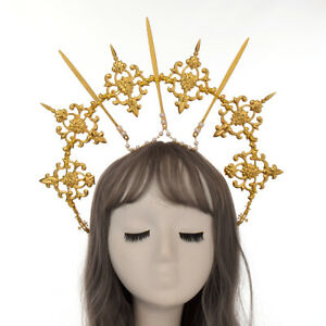 Women Hair Hoop Halo Crown Virgin Mary Headband Golden Headpiece Spike Goddess
