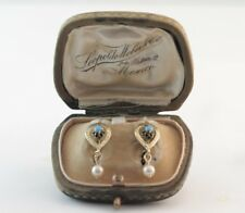 Victorian Pearsian Turquoise & Pearl Earrings 14k Yellow Gold