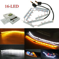 2x Crystal Switchback Flowing LED Strip Light Sequential Turn Signal DRL light