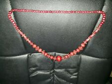 Wooden Graduated Round and Flat Bead Necklace
